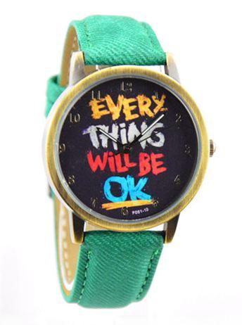 นาฬิกาข้อมือ สไตล์ วัยรุ่น ผู้หญิง ผู้ชาย ใส่ได้ หน้าปัดข้อความให้กำลังใจ everything will be ok ของขวัญยอดนิยม สีเขียว no 526000_5