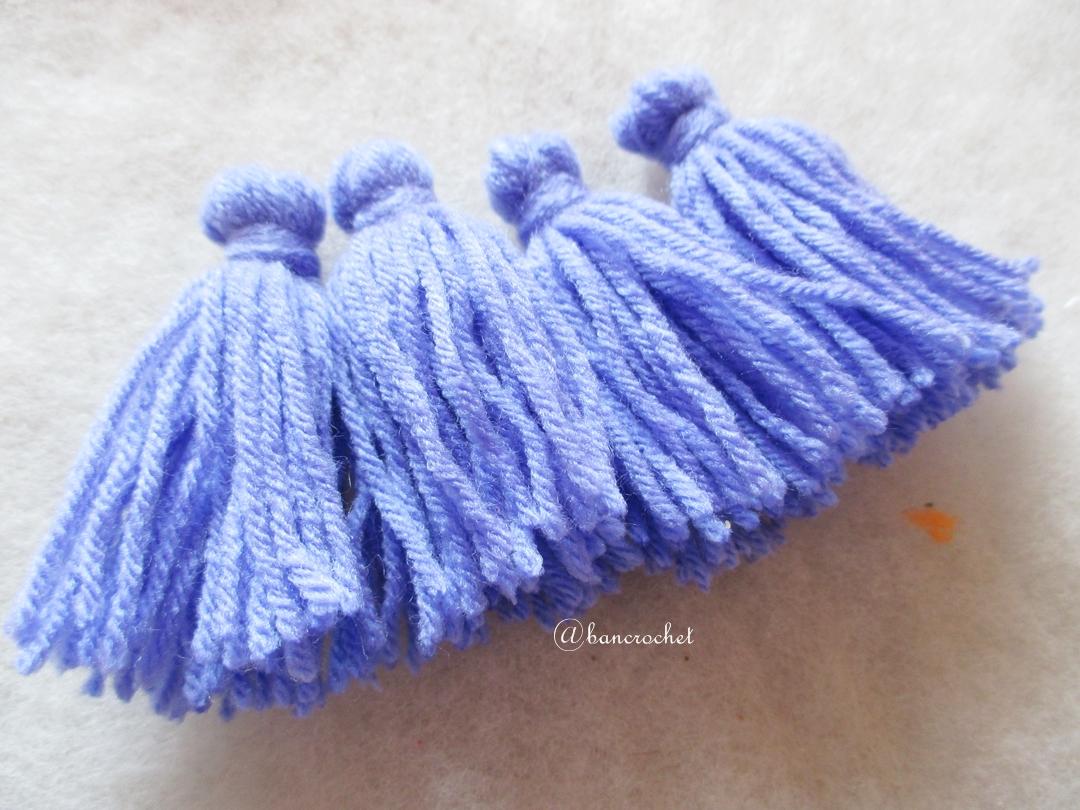 พู่สีฟ้าม่วงโครเชต์ ไหมพรม 4 ply orange tassel crochet acrylic yarn 4 ply