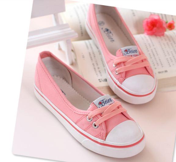รองเท้าผ้าใบผู้หญิง ส้นแบน รองเท้าหุ้มส้น แบบ ผ้าใบ สีชมพู หวาน ๆ ใส่สบาย ใส่งานกีฬา ใส่ทำงาน ใส่เที่ยว ได้ทุกโอกาส 415345_2