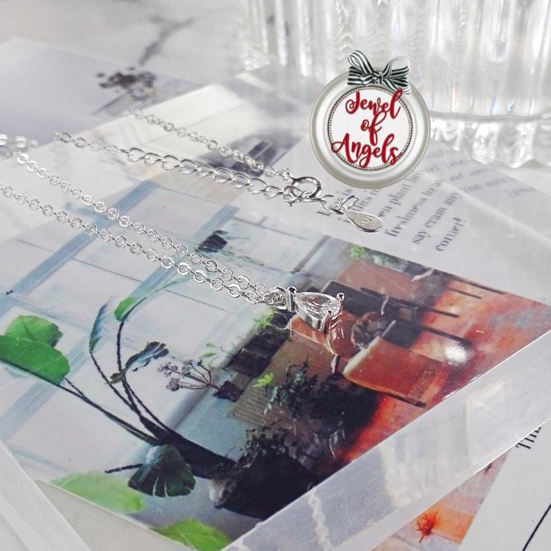 สร้อยคอเงินแท้S925จี้รูปหยดน้ำแต่งเพชรCZ(แถมกล่องค่ะ)