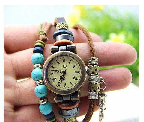 นาฬิกาข้อมือสายหนังถัก ร้อยลูกปัด เทอร์ควอย สีฟ้า สไตล์ วินเทจ สามารถใส่เป็น สร้อยข้อมือได้เลยค่ะ no 461234