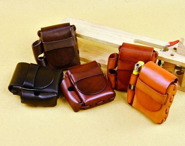 กระเป๋าคาดเอว หนังแท้ oil wax เคลือบเงา สำหรับ ใส่ไฟแช็ค ใส่ของ กระเป๋าคาดเอว สไตล์วินเทจ สุดคลาสสิค ของขวัญให้แฟน 415034