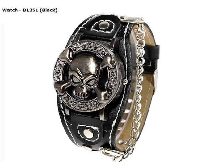 นาฬิกาข้อมือ ร็อคเกอร์ สายหนังสีดำ หน้าปัด หัวกะโหลก มีโซ่ห้อย นาฬิกาสายหนัง สำหรับ หนุ่ม สาว แนวร็อค 308169