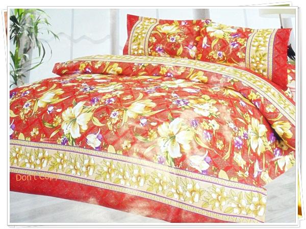 ผ้าปูที่นอน ผ้าปูเตียง 6 ฟุต 5 ชิ้น ลายดอกไม้สีน้ำตาล P003