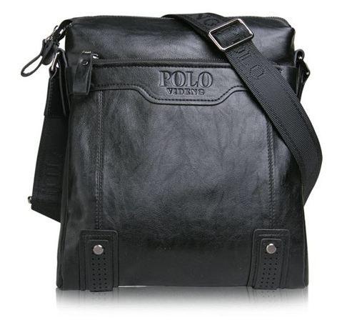 กระเป๋าสะพายข้าง ผู้ชาย Polo หนังแท้ ลง Wax แบบไม่มีฝาปิด ดีไซน์ เรียบหรู สีดำ ใส่โทรศัพท์ กระเป๋าสตางค์ ขนาด 24 x 26 x 7 cm 28257