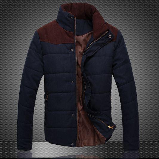 เสื้อกันหนาวผู้ชาย เสื้อคลุมผู้ชายแขนยาว สไตล์ แจ็คเก็ตนวม หนานุ่ม อุ่นสบาย ผ้า 2 ชั้น คอตั้ง ดีไซน์ สีทูโทน โทน สีกรมท่า น้ำเงิน no 563247