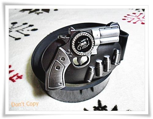 เข็มขัดหนังแท้ พร้อมหัวเข็มขัดรูปปืน B307