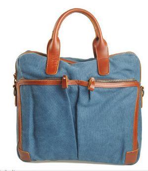 กระเป๋าถือ ผู้ชาย ใส่ Notebook หรือ เอกสาร ผ้าแคนวาส มีสายสะพายแยก สีฟ้า