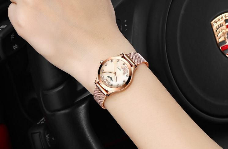 นาฬิกาข้อมือผู้หญิง สี Rose Gold สาย สแตนเลส แท้ นาฬิกาข้อมือ สายโซ่แบน หน้าปัดฝังเพชร สวยหรู ใส่ทำงาน ออกงาน ได้ทุกโอกาส 768356