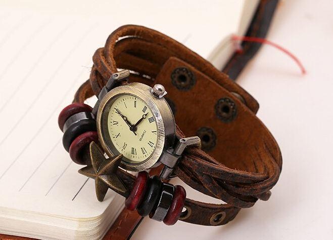 นาฬิกาข้อมือ สายหนังวัวแท้ นาฬิกาข้อมือผู้หญิง ผู้ชาย ใส่ได้ สายโชว์ ลายหนังวัว สานถักกัน คลาสสิค ติดจี้รูปดาว งาน แฮนด์เมด ใส่เท่ ๆ เก๋ ๆ 405379