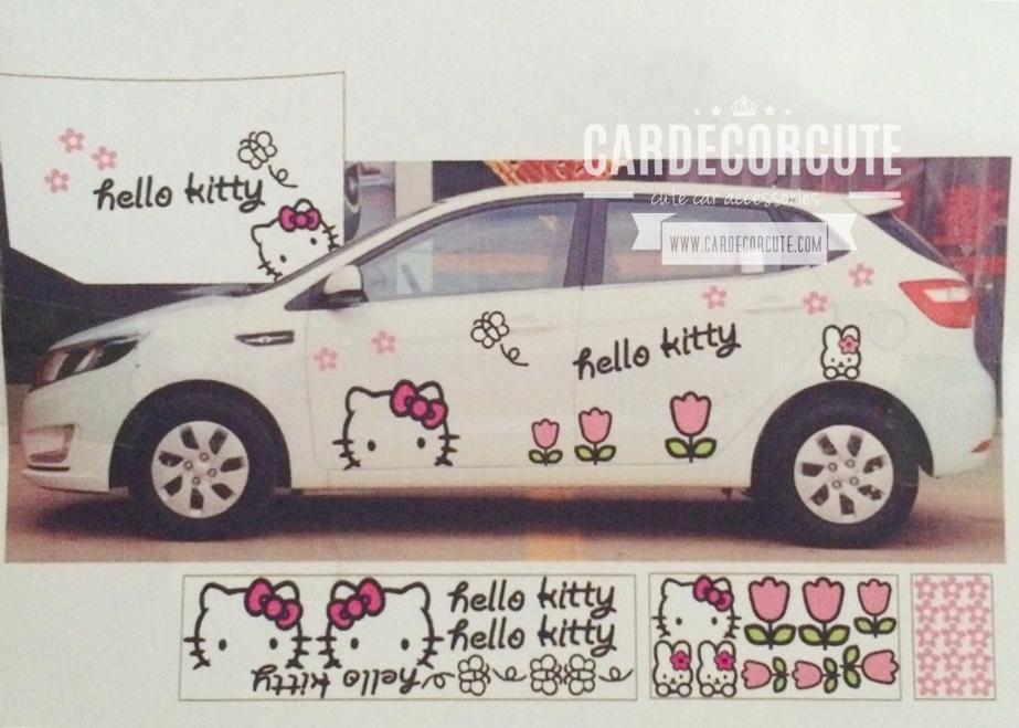 HELLO KITTY - สติ๊กเกอร์ติดตกแต่งรถยนต์ ลายคิตตี้ (รอบคัน+ฝากระโปรงหน้ารถ)