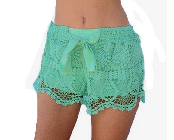 กางเกงขาสั้น กางเกงผู้หญิง ขาสั้น ผ้าลูกไม้ กางเกง ขาสั้น ใส่เที่ยวทะเล สีเขียว อมฟ้า น้ำทะเล ใส่เดินชายหาด ใส่ทับ ชุดว่ายน้ำ เก๋ ๆ 63273