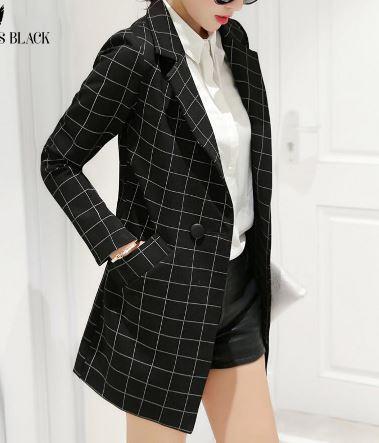 เสื้อสูท เสื้อแจ็คเก็ต เสื้อคลุม แบบสูท สูทผู้หญิง แขนยาว สูทตัวยาว สีดำ ลายตาราง สก๊อต jacket ตัวยาว เรียบหรู ดูดี มีระดับ 127125_2