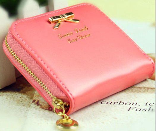 กระเป๋าใส่สตางค์ ใบเล็ก กระเป๋าสตางค์ หนังนิ่ม แต่งโบว์ ด้านหน้า น่ารักมากค่ะ no 82184