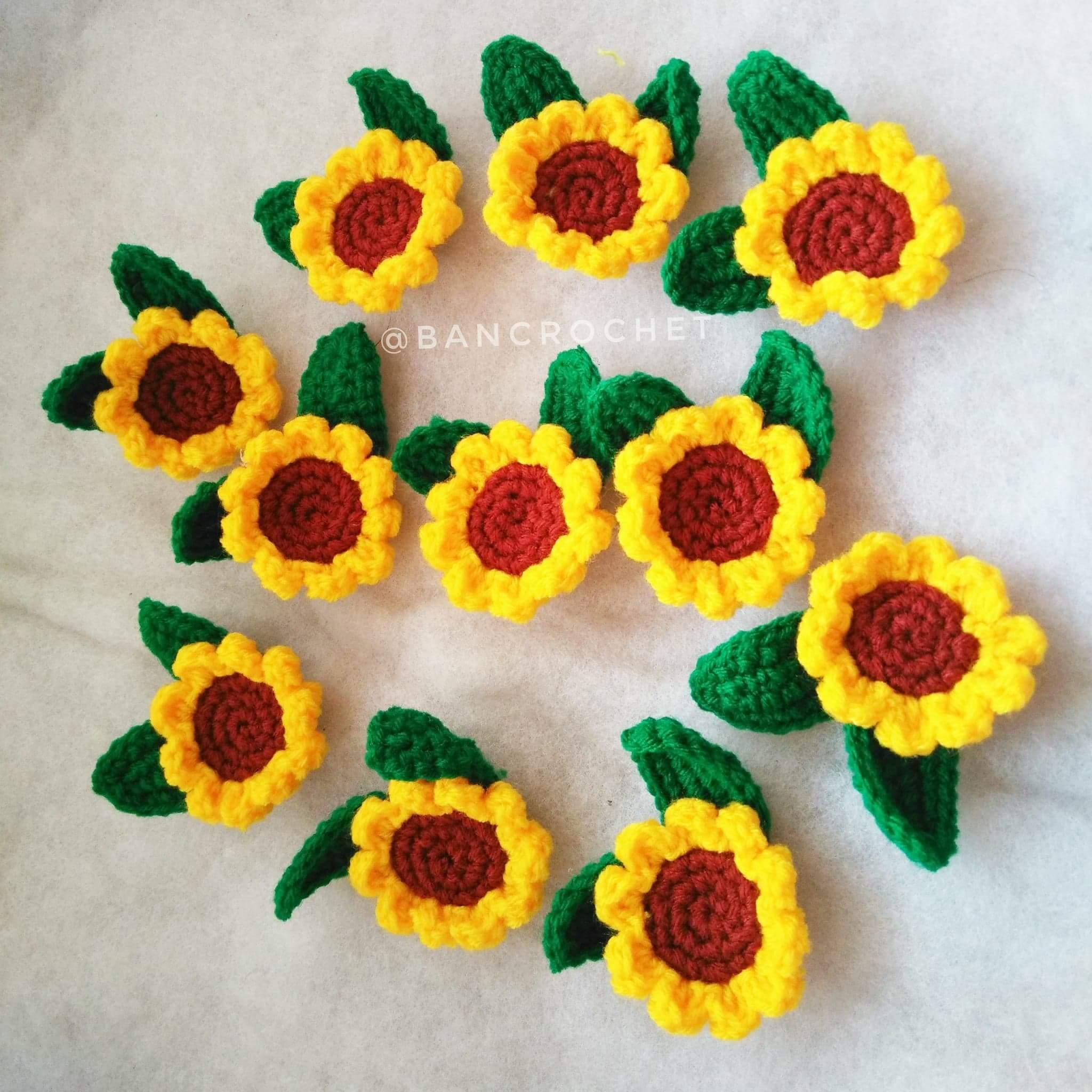 ดอกทานตะวันถักไหมพรม sunflowers crochet