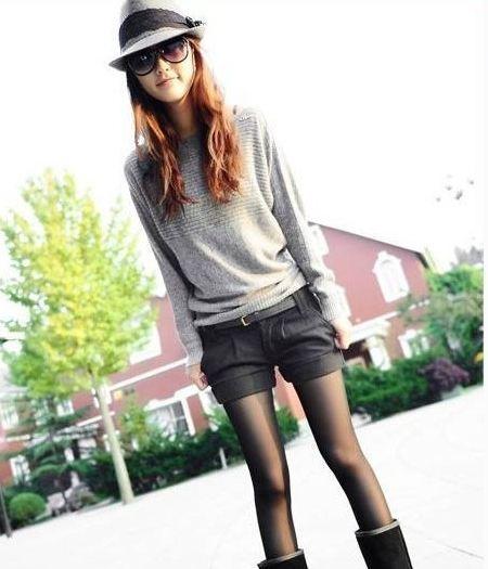 กางเกงขาสั้นผู้หญิง สำหรับสาวร่างบาง กางเกงผ้า งานตัด ออกแบบ ขาพับ สีเทาเข้ม กางเกงขาสั้น ใส่เที่ยว น่ารัก ๆ 55775