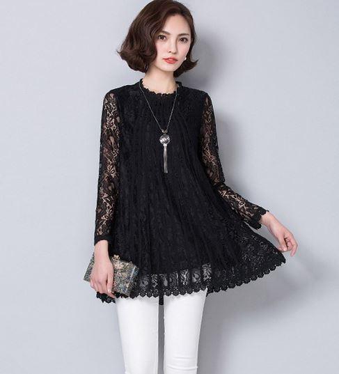 เสื้อผ้าลูกไม้ สีดำ แบบปิดคอ เสื้อลูกไม้ แขนยาว แบบตัวยาว เสื้อลูกไม้ สไตล์ คุณนาย สีดำ ใส่ออกงาน เสื้อสีดำ แฟชั่น ผ้าลูกไม้ 630447_1