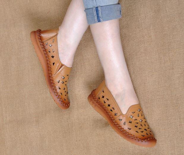 รองเท้าหุ้มส้น ผู้หญิง รองเท้าหนังแท้ รองเท้าคัทชู แบบหนัง ดีไซน์ ลาย ปั้มรู สไตล์วินเทจ ระบายอากาศได้ดี หนังนุ่ม ใส่สบาย 894245
