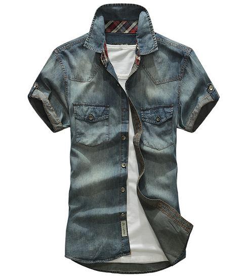 เสื้อ Jacket ยีนส์ แจ็คเก็ตยีนส์ ผู้ชาย แขนสั้น AFS JEEP สียีนส์ เข้ม และ อ่อน ดีไซน์ แขนพับ มีสไตล์ เท่ สุด ๆ เสื้อเชิ้ต ยีนส์ แขนสั้น slim fit 108683