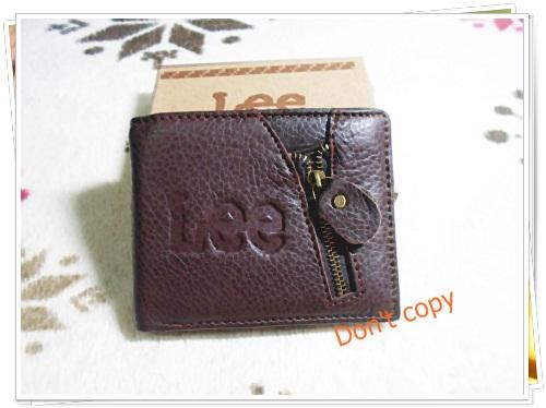 กระเป๋าสตางค์ผู้ชายหนังแท้ Lee สีน้ำตาล หน้าแต่งซิป lb002