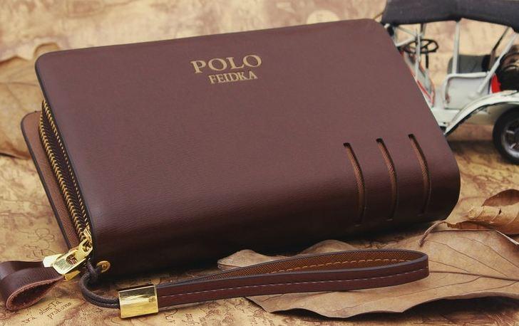 กระเป๋าถือ ผู้ชาย กระเป๋าสตางค์แบบถือ กระเป๋าสตางค์หนังแท้ ใบใหญ่ กระเป๋าสตางค์ polo แบบถือสามารถใส่ โทรศัพท์มือถือได้ สีดำ และ สีน้ำตาล 489599