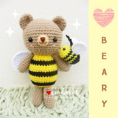 """ตุ๊กตาถัก หมีผึ้ง 7"""""""