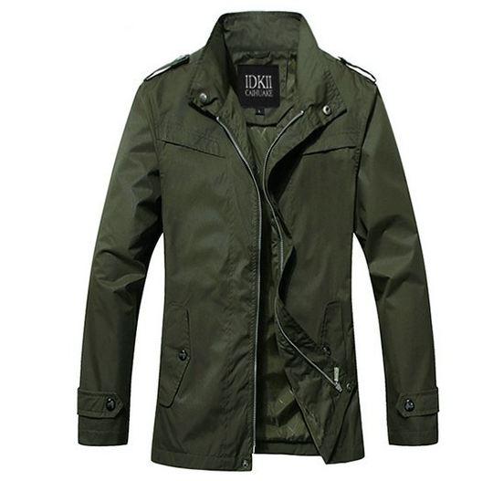 เสื้อแจ็คเก็ต ผู้ชายแขนยาว ผ้า Polyester เสื้อคลุม กันลม กันแดด แบบสวย ใส่สบาย สีเขียว Army Green เสื้อแขนยาว ซิปด้านหน้า 131440