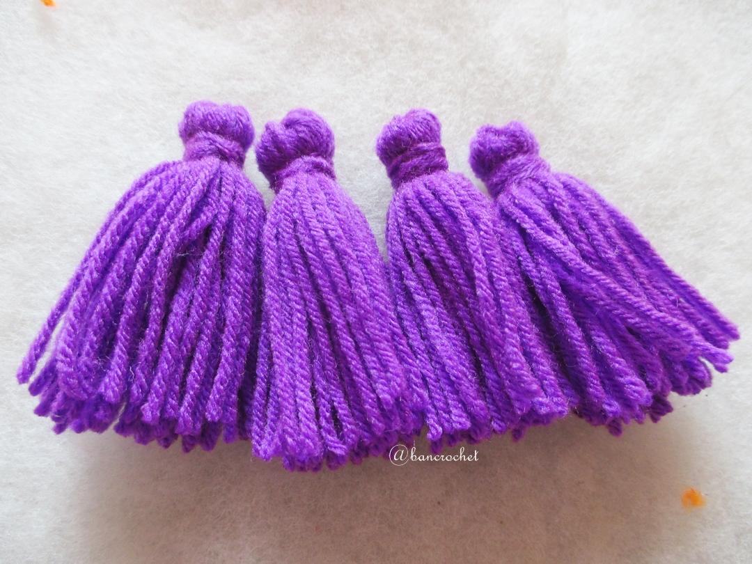 พู่สีม่วงโครเชต์ ไหมพรม 4 ply tassel crochet acrylic yarn 4 ply