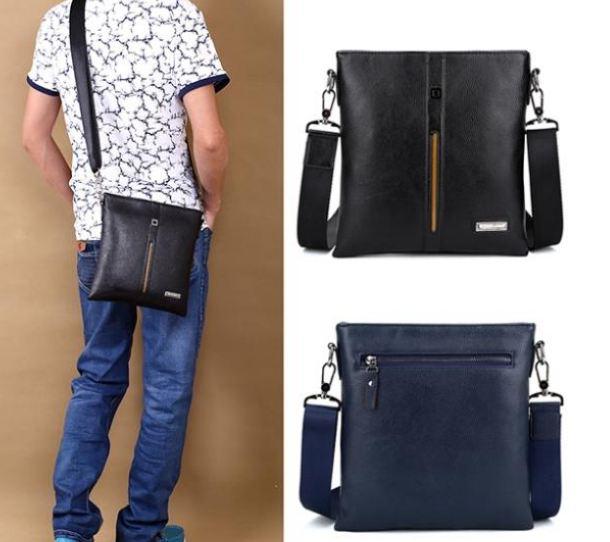 กระเป๋าสะพายข้าง ผู้ชาย หนัง Pu ใช้งานทนทาน กระเป๋าสะพายข้าง ขนาดกลาง ใส่ กระเป๋าสตางค์ โทรศัพท์ แบบเรียบ สีน้ำเงิน ดำ 333785