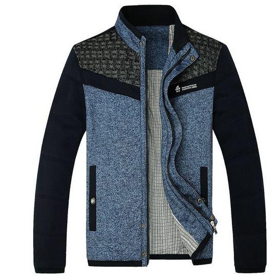 แจ็คเก็ต เสื้อผู้ชายแขนยาว เสื้อคลุม ใส่กันหนาว กันลม แบบสวย ผ้า Cotton ผสม สีฟ้า สไตล์ไฮโซ ผ้า 2 ชั้น Jacket แบบเรียบหรู ใส่เรียน ใส่ทำงาน 581217_1