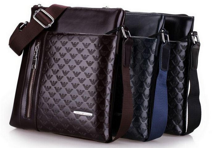 กระเป๋าสะพายข้าง ผู้ชาย หนัง Pu กันน้ำ กระเป๋าสะพาย Armani แบบไม่มีฝาปิด กระเป๋าสะพาย ใส่ Ipad ได้ สีน้ำเงิน สีดำ สีน้ำตาล 276063
