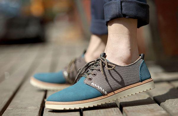 รองเท้าผ้าใบ ผู้ชาย รองเท้าใส่เที่ยว รองเท้าหุ้มส้น ผ้าแคนวาส หรือ ผ้ายีนส์ สีน้ำเงิน รองเท้าผ้าใบแบบวัยรุ่น ผู้ชาย ใส่เที่ยว เท่ ๆ 517968_3