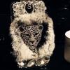 เคส Samsung galaxy note 3 เคส ขนสัตว์ ขนเฟอร์ นุ่ม ๆ ขนกระต่ายแท้ แต่งคริสตัล หน้าเสือดาว สีเทา no 14573