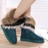 รองเท้าหุ้มส้นผู้หญิง รองเท้าบูท นิด ๆ ตกแต่งขนเฟอร์ ขนกระต่ายสีน้ำตาล ที่ข้อ รองเท้าแฟชั่น หุ้มส้น สไตล์สาว วินเทจ สีฟ้า 96015_1