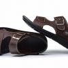 รองเท้าผู้ชาย รองเท้า แบบรัดส้น รองเท้า ใส่เที่ยว รองเท้าหนัง สำหรับท่องเที่ยว เดินป่า เดินเขา มีสายรัดส้น ใส่สบาย สีน้ำตาล 599570_1