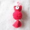 พวงกุญแจปอมปอมหมีแดง pompoms bear crochet keychain