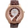 นาฬิกาข้อมือผู้หญิง สายหนัง สีน้ำตาล เพิ่มความหรูหรา ด้วย คริสตัล เพชร ล้อมหน้าปัด ดีไซน์ เพชรด้านใน สวยหรู 44728_1
