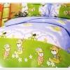 5 ฟุต 3 ชิ้น ชุดเครื่องนอน ผ้าปูที่นอน ลายหมีสีเขียว b012