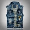 เสื้อแจ็คเก็ตยีนส์ แขนกุด เสื้อ Jacket ผู้ชาย แบบเท่ ๆ สไตล์ อเมริกัน เสื้อยีนส์ คอปก แขนกุด วัยรุ่น เท่ ๆ ปัก เบอร์ 7 ด้านหลังเสื้อ เสื้อยีนส์แขนกุด 835836