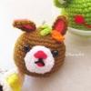 พวงกุญแจหัวตุ๊กตากระต่าย สูง 2 นิ้ว rabbit amigurumi crochet keychain