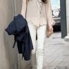 เสื้อเชิ้ต ผ้าชีฟอง แขนยาว สีพื้น สีขาว no 68648_3