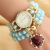 นาฬิกาข้อมือ นาฬิกาผู้หญิง สร้อยข้อมือ นาฬิกา แฟชั่น ร้อย คริสตัล ลูกปัด แสนสวย ติด เพชร Rhinestone พันข้อมือ 2 รอบ ห้อยจี้ หัวใจ 297687