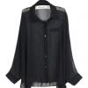 เสื้อเชิ้ต ผ้าชีฟอง แขนยาว สีพื้น สีดำ no 68648_2