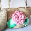 กระเป๋ากระจูดสาน ประดับกุหลาบสีชมพูโอรส ขนาด 7*7 นิ้ว basket weave bags