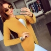 เสื้อคลุมแขนยาว เสื้อ Jacket ผู้หญิง แบบเสื้อสูท สีเหลือง เสื้อคลุมใส่กันหนาว ใส่ในที่ทำงานได้ แบบสุภาพ เรียบร้อย 825340_2