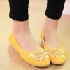 รองเท้าหุ้มส้นผู้หญิง รองเท้าผู้หญิง ส้นแบน หนัง pu ตกแต่งดอกไม้ เพิ่มสีสัน ที่หน้าเท้า รองเท้าหุ้มส้นใส่สบาย สีเหลือง 52486_3