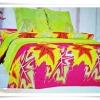 ชุดผ้าปูเตียง ผ้าปูที่นอน สีเขียวสดดอกไม้ Cotton 6 ฟุต 5 ชิ้น B004
