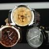นาฬิกาข้อมือ ผู้ชาย สายหนังแท้ หน้าปัดกลม คลาสสิค มี 3 สี น้ำตาล ดำ ทอง ของขวัญให้พ่อ ให้แฟน สุดหรู ดูดี มีระดับ มีระบบ บอกวันที่ 451907