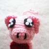 พวงกุญแจหมูถักไหมพรม ขนาด 4 นิ้ว pig crochet keychain 4 inch