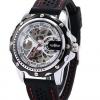 นาฬิกาข้อมือ แบบโชว์กลไก ระบบไขลาน ไม่ต้องใส่ถ่าน นาฬิกาข้อมือผู้ชาย แบบเปลือย หน้าปัดสีเงิน สายซิลิโคน สีดำ ตัดด้วยด้ายสีแดง no 396567